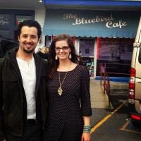 In front of the Bluebird Cafe