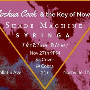 Joshua Cook, Shade Machine, the Blam Blams, Syringa, Cobra, The Cobra, The Cobra Nashville
