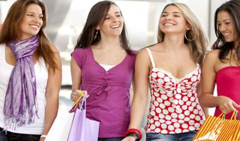 Girl Friends Shopping at Mall