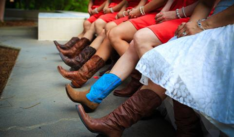 Bachelorette Party in cowboy boots on Broadway and 2nd Ave in downtown Nashville Tennessee