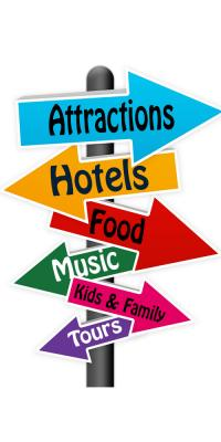Sign pointing to Hotels, Attractions and Food in Nashville Tennessee