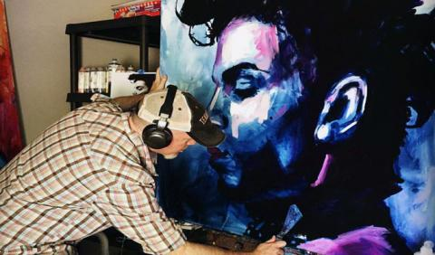 Roy Laws painting Prince's in Purple Rain