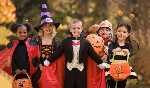 Kids dressed in costume for a halloween party in Nashville Tennessee