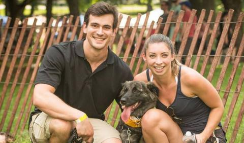Pet Family having fun in Centennial Park in downtown Nashville Tennessee