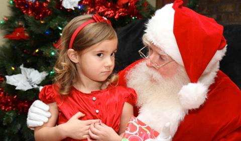 Little girl getting Picture with Santa