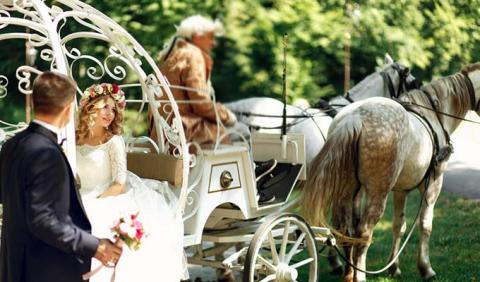 Nashville Bride and Groom on horse drawn carriage ride